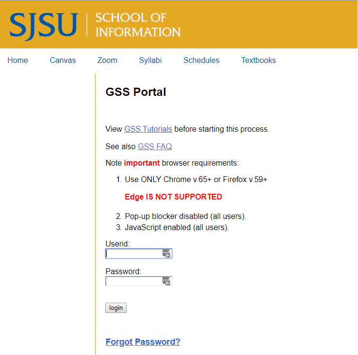 GSS portal login screen