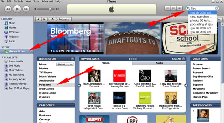 screen shot of iTunes home page